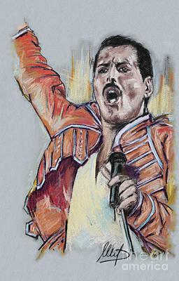 Singer Drawing - Freddie Mercury by Melanie D