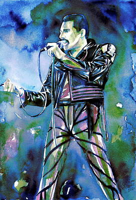 Concert Images Painting - Freddie Mercury Singing Portrait.2 by Fabrizio Cassetta