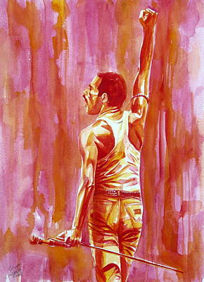 Concert Images Painting - Freddie Mercury Singing Portrait.3 by Fabrizio Cassetta
