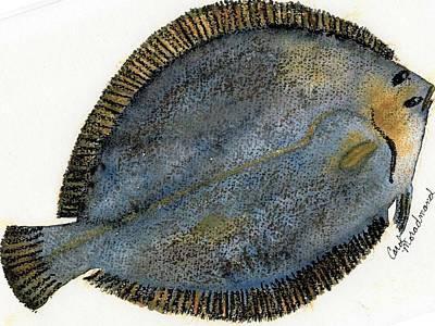Flounder Painting - Freddie The Flounder by Carol Lindquist