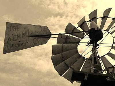 Fredericksburg Herb Farm Aermotor Windmill Sepia Art Print