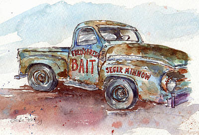Rusty Truck Painting - Fred's Truck by Leslie Fehling