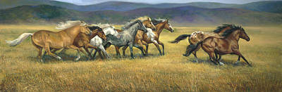 Of Horses Painting - Free And Wild by Laurie Hein