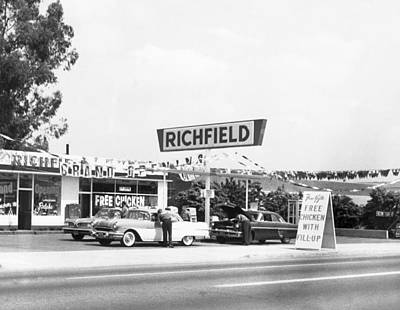 Food And Drink Photograph - Free Chicken With Gas Fill-up by Underwood Archives