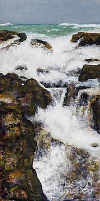 Rushing Water Painting - Free Flowing by Frances Marino