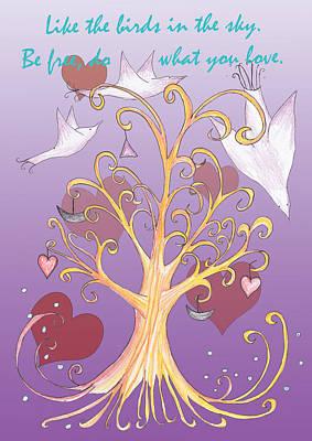 Hearts On Trees Digital Art - Free Like A Bird Words Of Wisdom by Birgitta Serine Kvelland