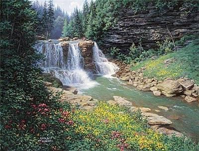Digital Art - Free Print Waterfall by Larry Dyke