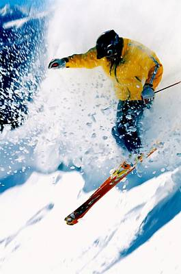 Skiing Action Painting - Free-ride Skier by Lanjee Chee