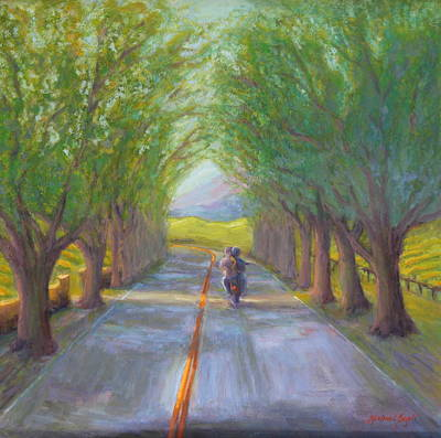Napa Valley Vineyard Painting - Free Riders by Michael Besoli