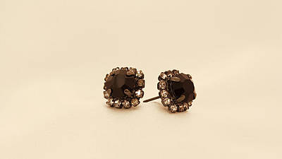 Free Shipping Mounted Linked Earrings With A Black Crystal Stone Original by Batya Salomon