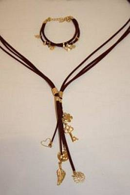 Free Shipping Set Idit Stern Charming Suede Bracelet And Necklace Original by Idit Stern
