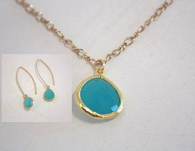 Free Shipping Set Idit Stern Turquoise Crystal Necklace And Earrings Original by Idit Stern