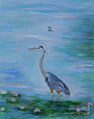 Painting - Free Spirit Blue Heron by Leslie Allen