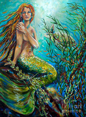 Mermaid Painting - Free Spirit by Linda Olsen