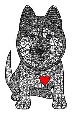 Drawing - Free Spirit - Siberian Husky by Dianne Ferrer