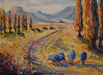 Free State Landscape With Guinea Fowl Art Print by Thomas Bertram POOLE