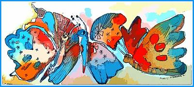 Pixie Drawing - Free The Butterflies by Mindy Newman