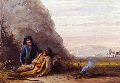 Free Trappers In Trouble Art Print by Alfred Jacob Miller