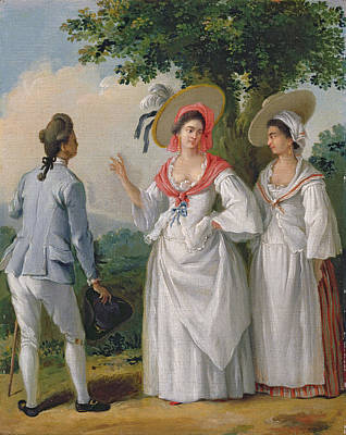 Slaves Photograph - Free West Indian Creoles In Elegant Dress, C.1780 Oil On Canvas by Agostino Brunias