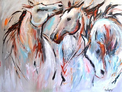 Wild Horses Mixed Media - Freedom by Cher Devereaux