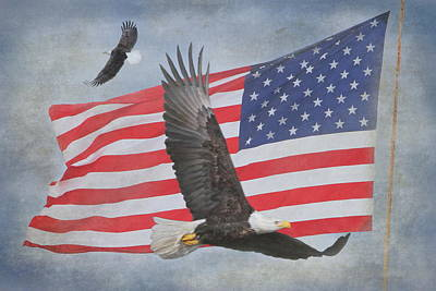 Waving Flag Photograph - Freedom Flight by Angie Vogel