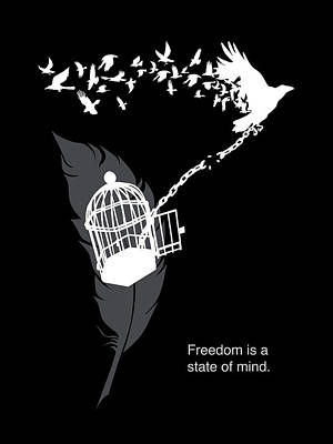 Cage Painting - Freedom Is A State Of Mind by Sassan Filsoof