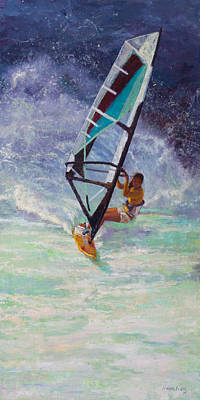 Wind Surfing Painting - Freedom by Jeanne Young