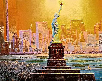 Statue Of Liberty Mixed Media - Freedom's Light by Dennis Baswell