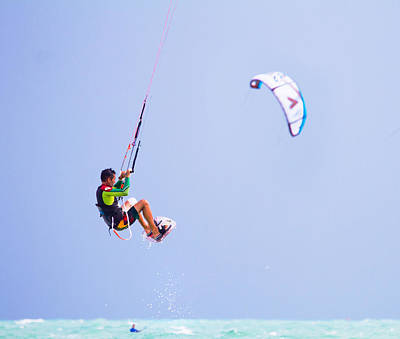 Freedom  Miami Beach Kitesurfing Art Print by Mr Bennett Kent