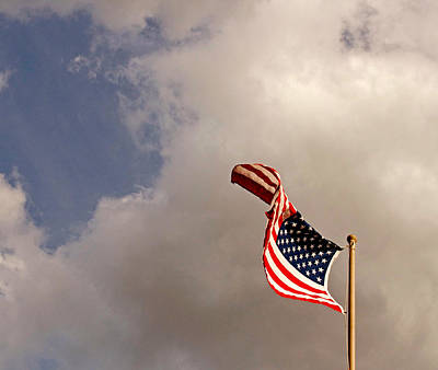 American Flag Photograph - Freedom Moves Itself 2013 by James Warren