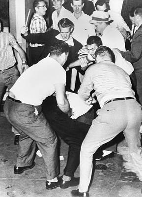 Racism Photograph - Freedom Rider Beaten by Underwood Archives