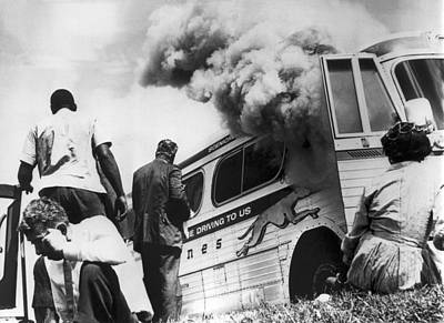 Racism Photograph - Freedom Riders Bus Burned by Underwood Archives