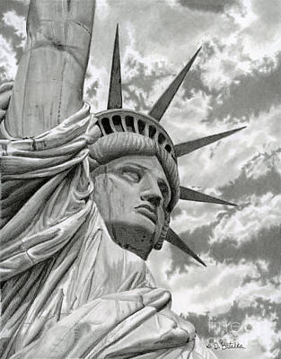 Statue Of Liberty Drawing - Freedom by Sarah Batalka