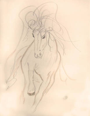 Running Horse Drawing - Freedom To Run by Donna Blackhall