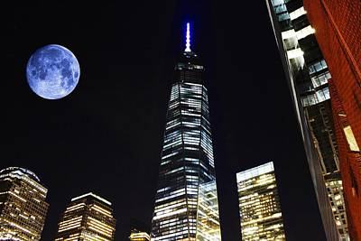 Freedom Tower And Blue Moon Art Print
