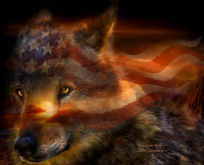Mixed Media - Freedom Wolf by Carol Cavalaris