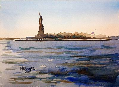 Ellis Island Painting - Freedom's Silhouette II by Spencer Meagher