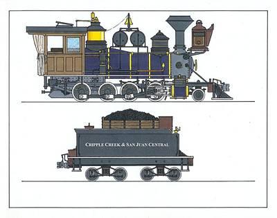 Narrow Gauge Locomotive Drawings | Fine Art America