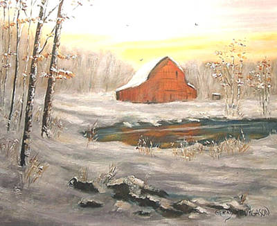 Kentucky Landscape Artist Painting - Freeman Lake Snow by Gerry Furgason