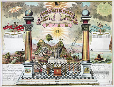 Photograph - Freemason Emblematic Chart by Granger