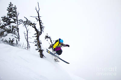 Freeride Ski - Skier Jumping In The Backcountry Art Print by Alejandro Moreno de Carlos
