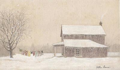 Winter Landscape Drawing - Freeze-dried Laundry by Arthur Barnes