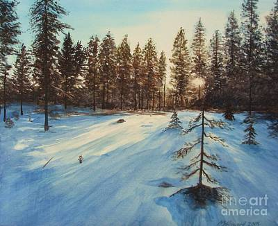 Martin Howard Painting - Freezing Forest by Martin Howard