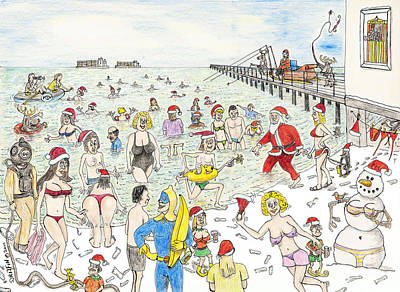 Snowwoman Drawing - Freezing Our Baubles Off At The December Dip Felixstowe by Steve Royce Griffin