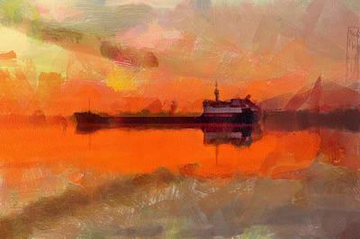 Freight Ship Sunset Art Print