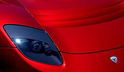Photograph - Freighteningly Red Tesla by Bob Wall