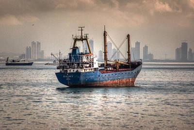 Photograph - Freighter At Anchor by Joshua McDonough