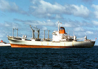 Photograph - Freighter In The Mid-pacific by Robert  Rodvik