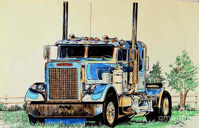 Drawing - Freightliners by Cheryl Poland