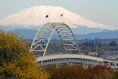 Nature Photograph - Fremont Bridge And Mount Saint Helens by David Gn